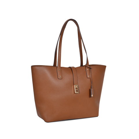 MICHAEL KORS KARSON LARGE BROWN LEATHER CARRY-ALL TOTE  BAG