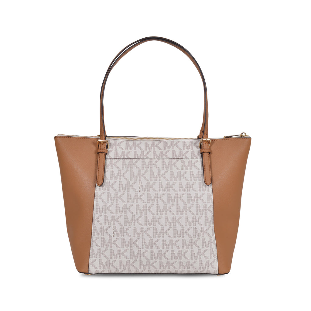MICHAEL KORS DUAL-TONE VANILLA LEATHER TOTE BAG