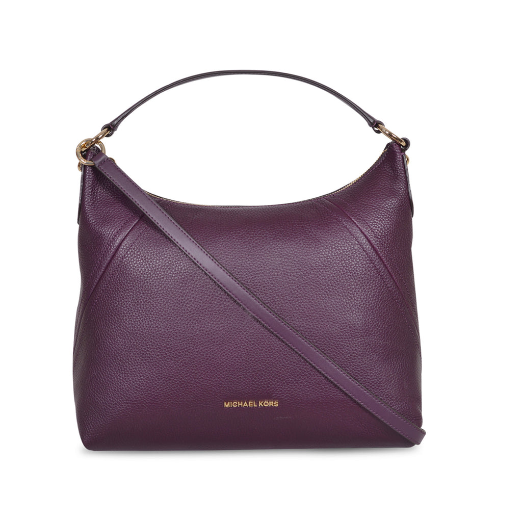 f1dbfda7f58b MICHAEL KORS ARIA DAMSON LEATHER SHOULDER BAG – Galleria di Lux