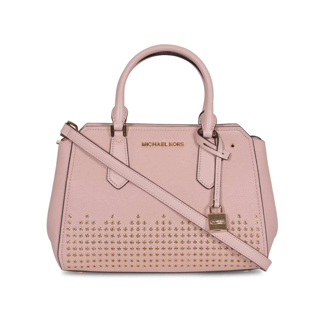 MICHAEL KORS HAYES MEDIUM BALLET PINK LEATHER METAL STUDDED MESSENGER BAG