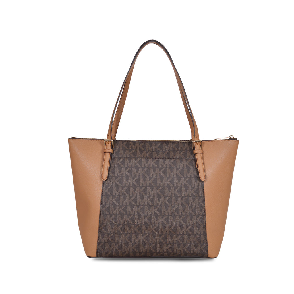 MICHAEL KORS DUAL-TONE BROWN LEATHER TOTE BAG