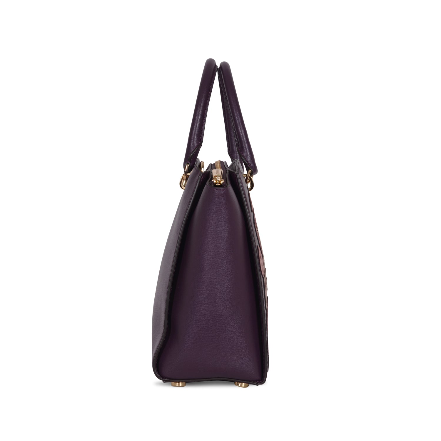 MICHAEL KORS EMBROIDERED DAMSON LEATHER TOP HANDLE BAG