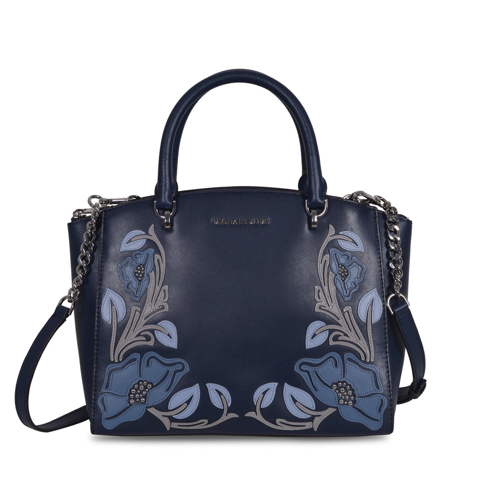 MICHAEL KORS EMBROIDERED NAVY BLUE LEATHER TOP HANDLE BAG