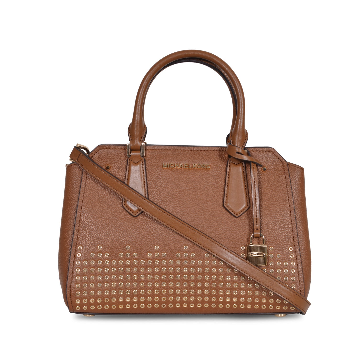 MICHAEL KORS HAYES MEDIUM BROWN LEATHER METAL STUDDED MESSENGER BAG