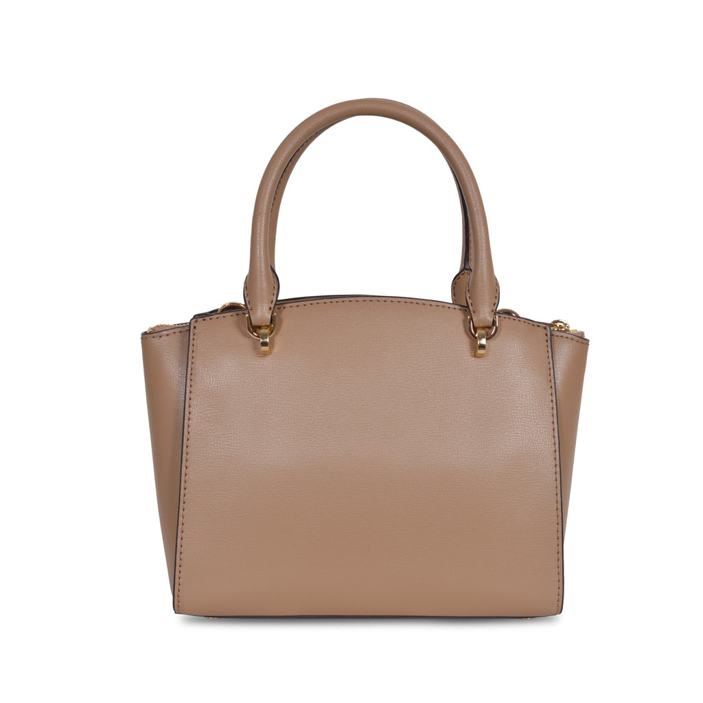 MICHAEL KORS ELLIS MEDIUM BEIGE LEATHER SATCHEL BAG