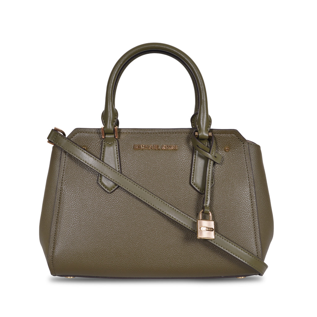 36a95a0750 MICHAEL KORS HAYES LARGE OLIVE LEATHER SHOULDER BAG – Galleria di Lux