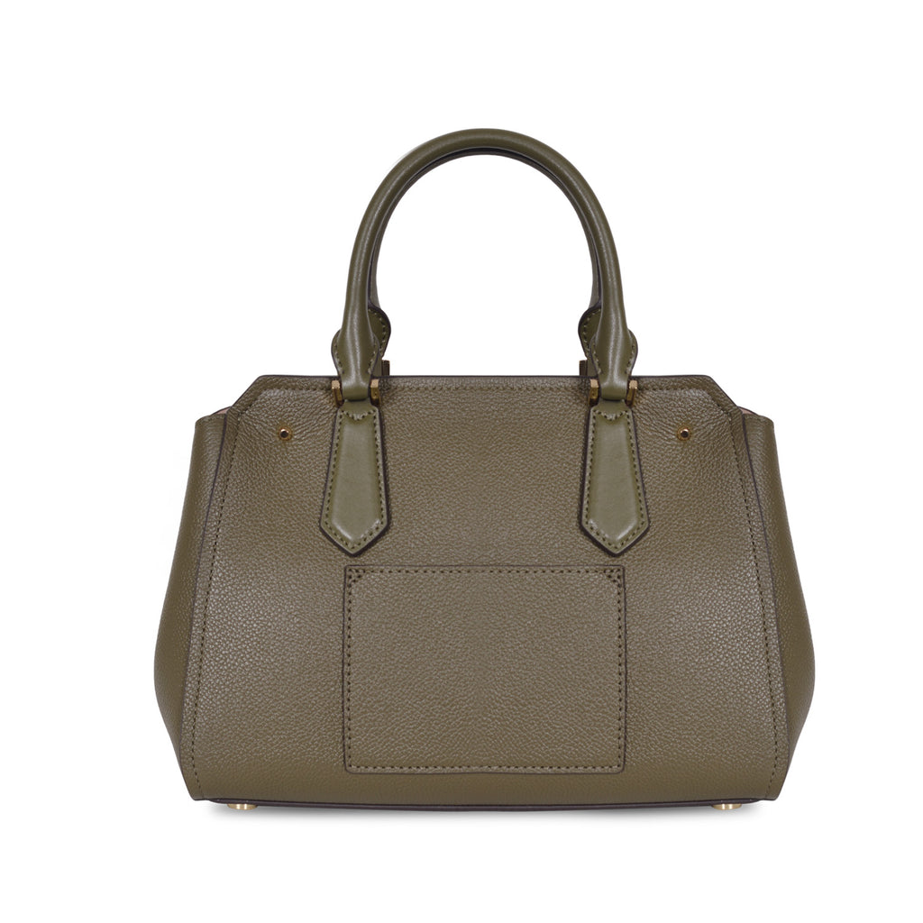 MICHAEL KORS HAYES LARGE OLIVE LEATHER SHOULDER BAG