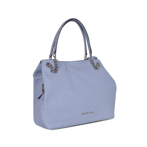MICHAEL KORS JET SET LARGE PALE BLUE LEATHER SHOULDER TOTE BAG