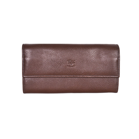 IL BISONTE WOMEN'S LONG WALLET IN DARK BROWN COWHIDE LEATHER