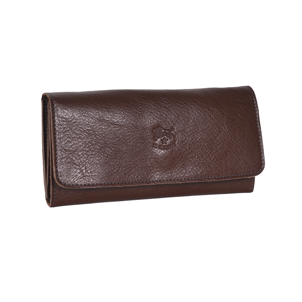 IL BISONTE WOMEN'S TRI-FOLD WALLET IN DARK BROWN  COWHIDE LEATHER