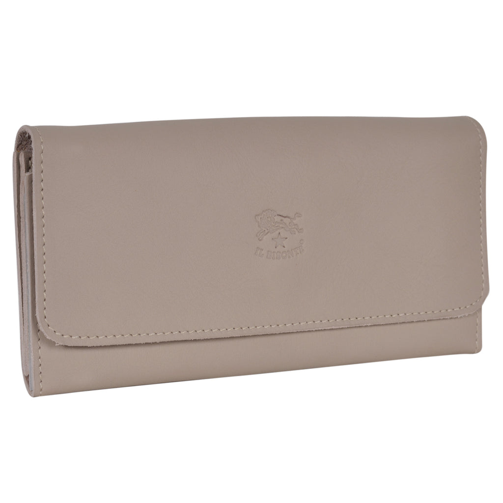 IL BISONTE WOMEN'S TRI-FOLD WALLET IN NATURAL  COWHIDE LEATHER