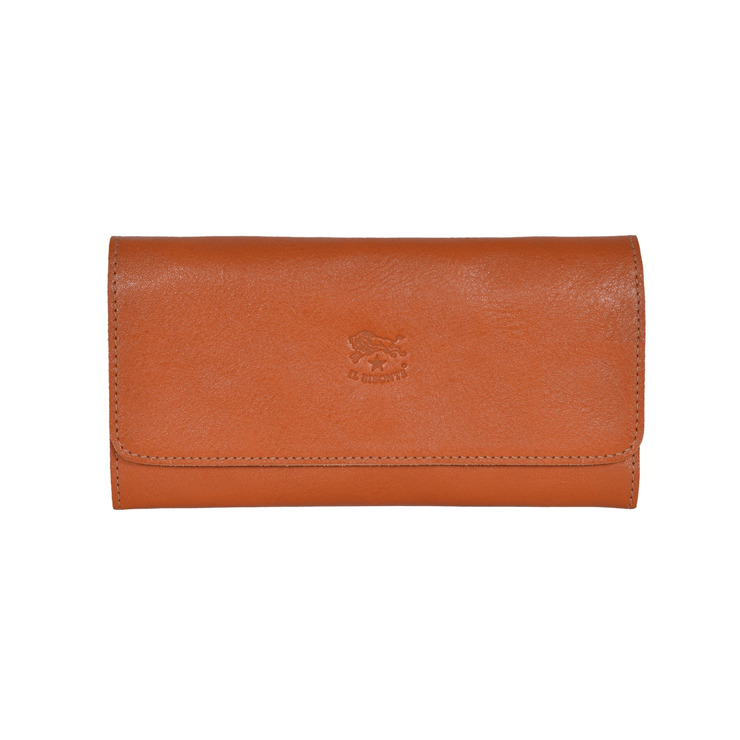 IL BISONTE WOMEN'S TRI-FOLD WALLET IN CARAMEL  COWHIDE LEATHER
