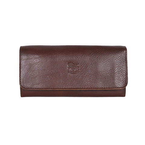 IL BISONTE WOMEN'S TRI-FOLD WALLET IN BROWN  COWHIDE LEATHER