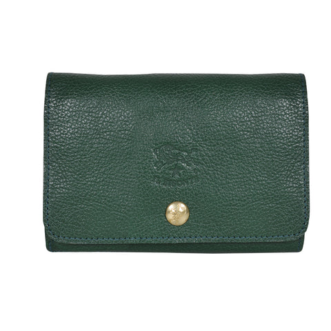 IL BISONTE UNISEX COMPACT FOLDING WALLET IN GREEN COWHIDE LEATHER
