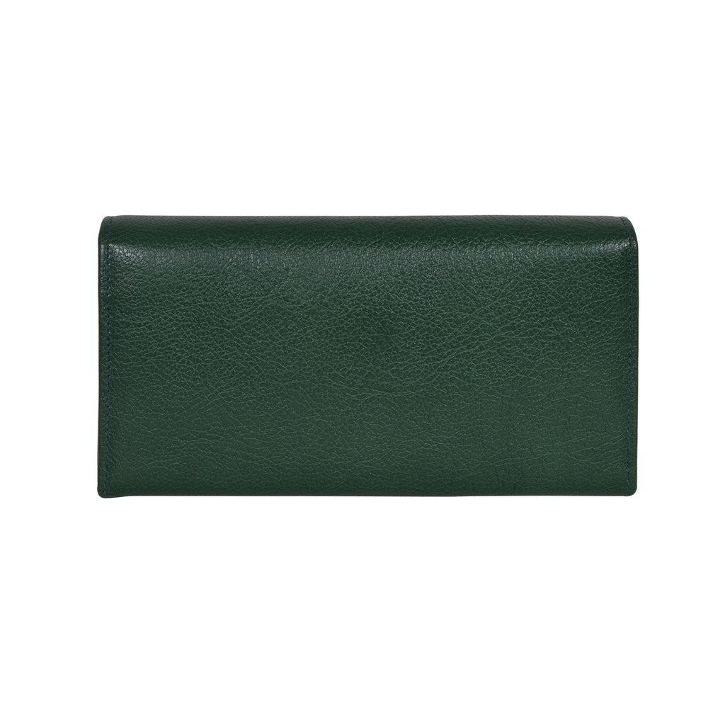 IL BISONTE WOMEN'S LONG WALLET IN GREEN  COWHIDE LEATHER