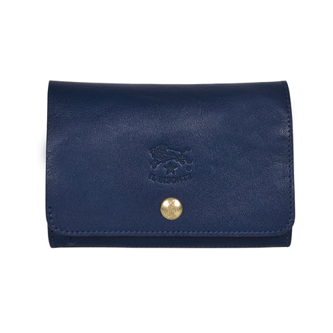 IL BISONTE UNISEX COMPACT FOLDING WALLET IN BLUE COWHIDE LEATHER