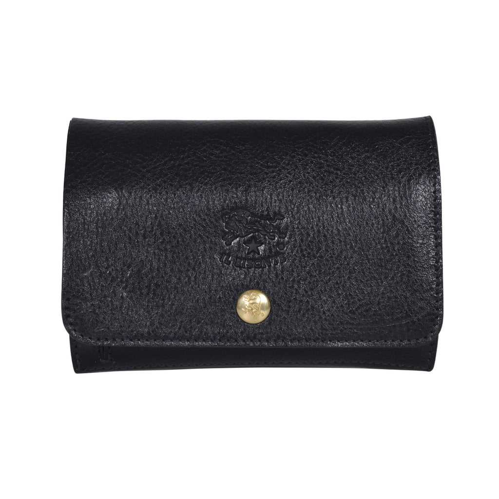 IL BISONTE UNISEX COMPACT FOLDING WALLET IN BLACK  COWHIDE LEATHER