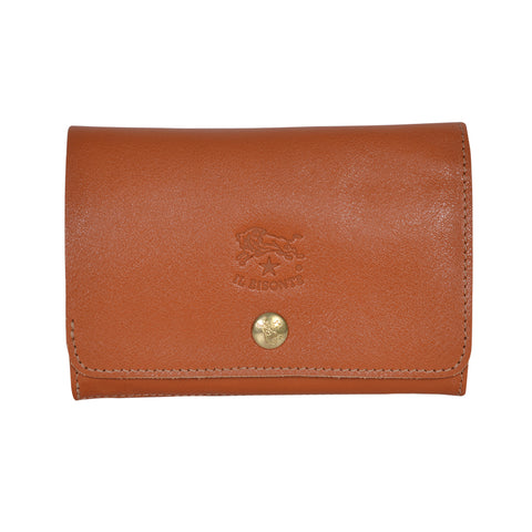 IL BISONTE UNISEX COMPACT FOLDING WALLET IN CARAMEL  COWHIDE LEATHER