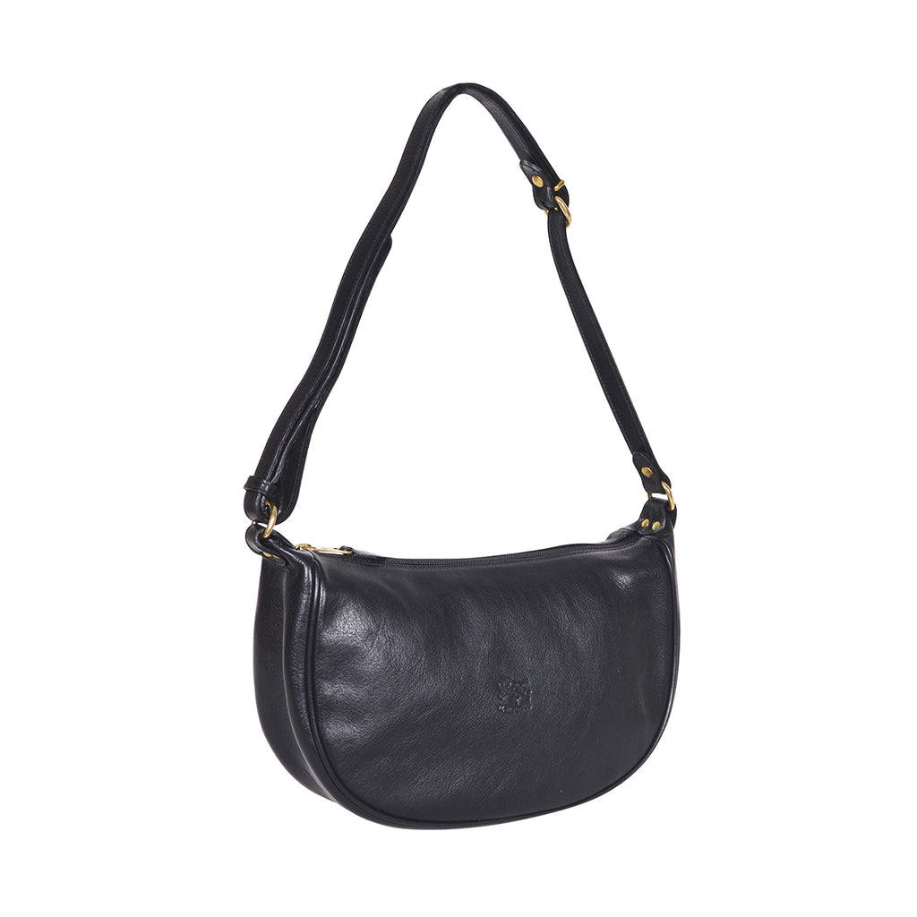IL BISONTE WOMEN'S SHOULDER BAG IN BLACK COWHIDE LEATHER