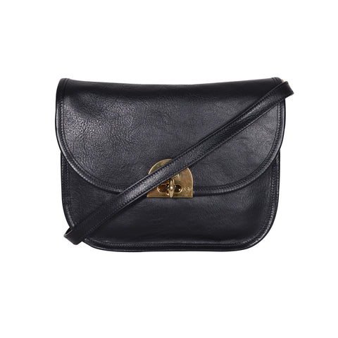 IL BISONTE CASUAL STYLE BLACK LEATHER SHOULDER BAG