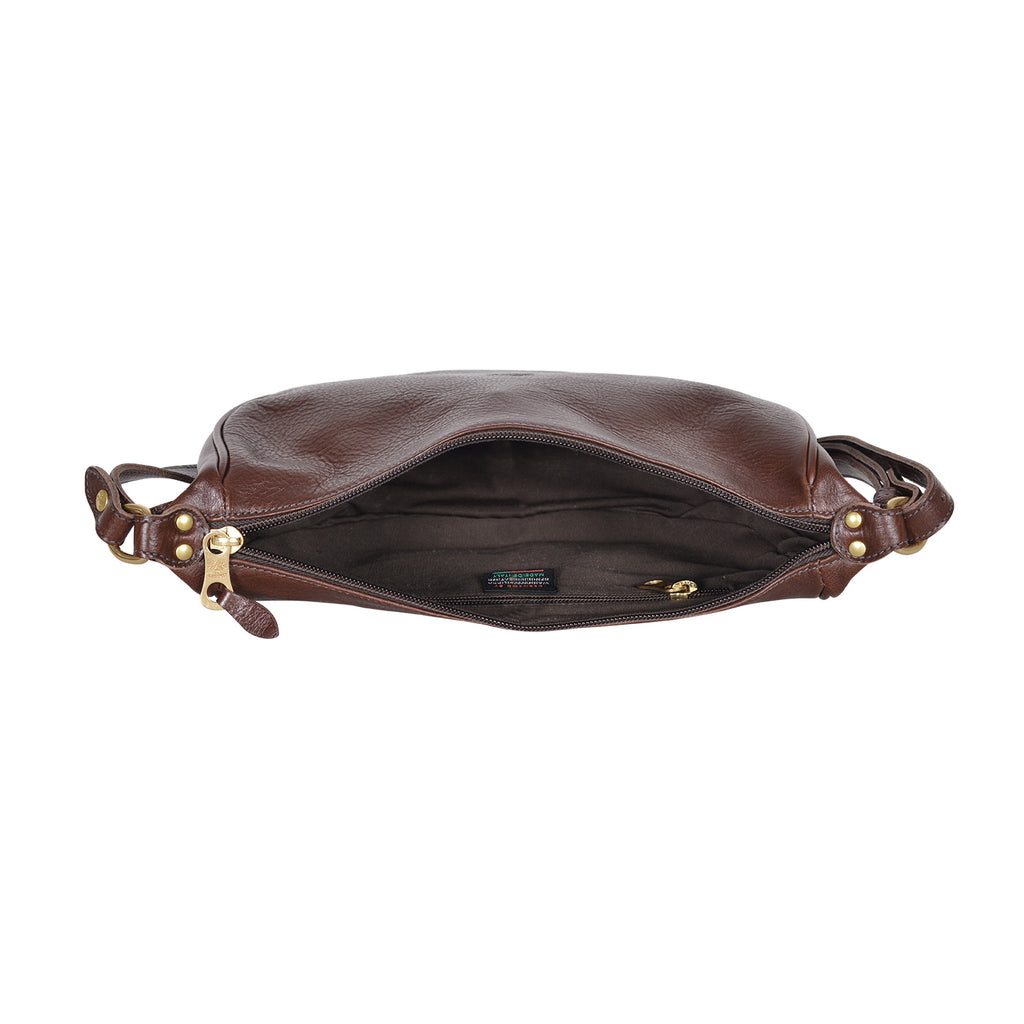 IL BISONTE WOMEN'S SHOULDER BAG IN BLUE COWHIDE LEATHER