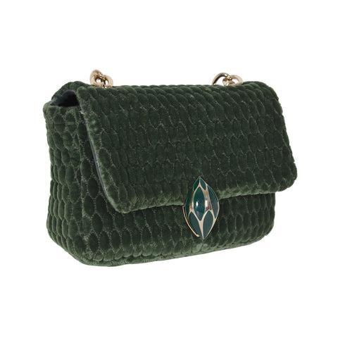 F.E.V GREEN QUILTED VELVET ASPEN BUM-CHAIN BAG