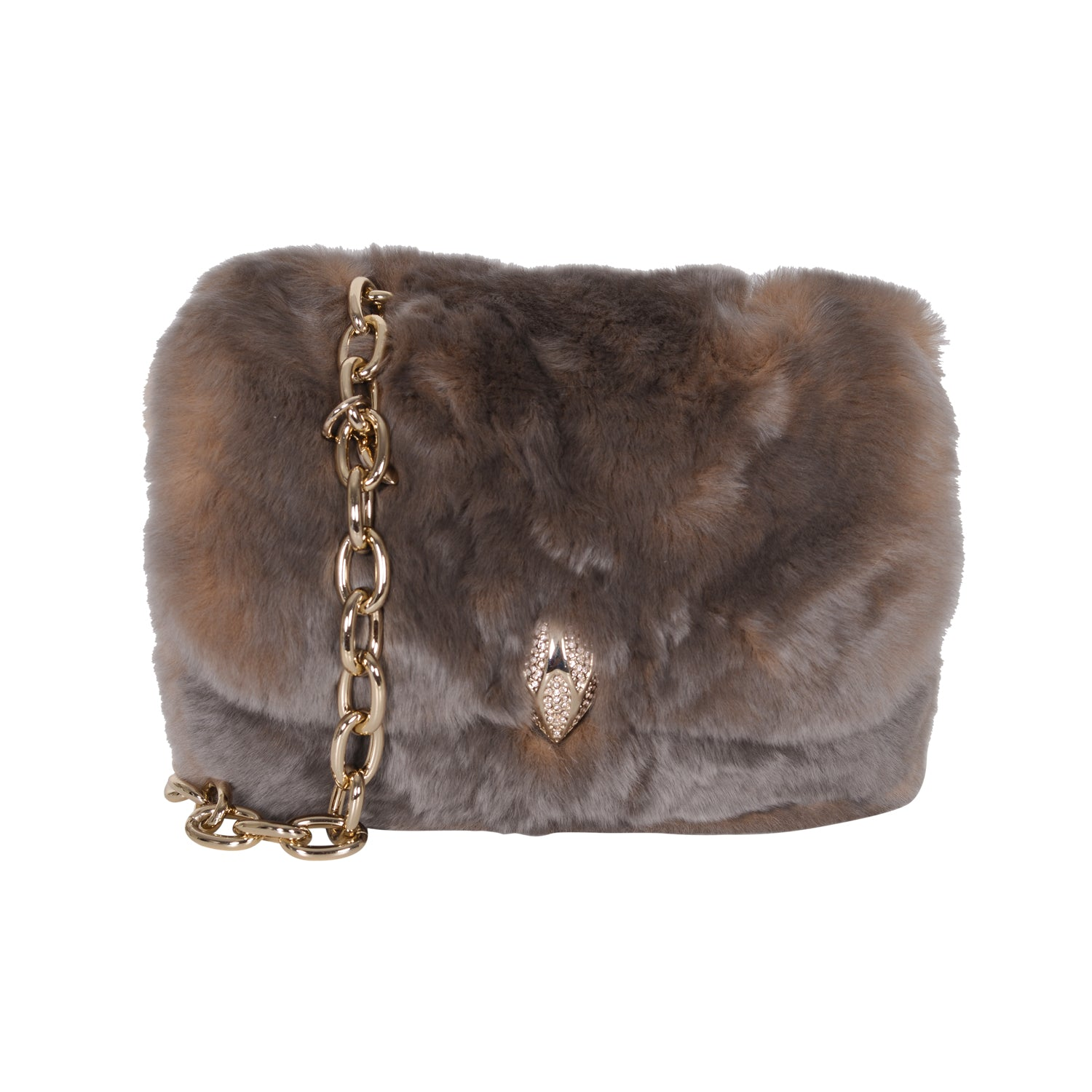F.E.V TAUPE MINI FUR BELT BAG