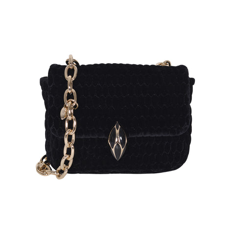 F.E.V BLACK QUILTED VELVET ASPEN BUM-CHAIN BAG