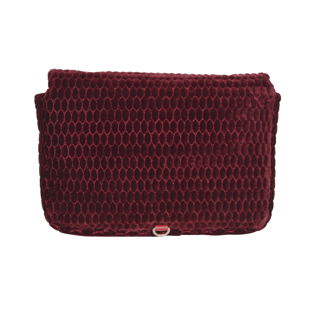 F.E.V BORDEAUX QUILTED VELVET ASPEN ALL- PURPOSE BAG