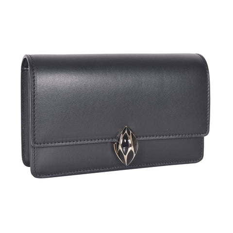 F.E.V  WOMEN'S BLACK PLAIN CALF LEATHER  ST. MORTIZ CLUTCH