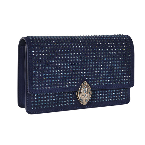 F.E.V  WOMEN'S BLUE SUEDE  ST. MORTIZ CLUTCH