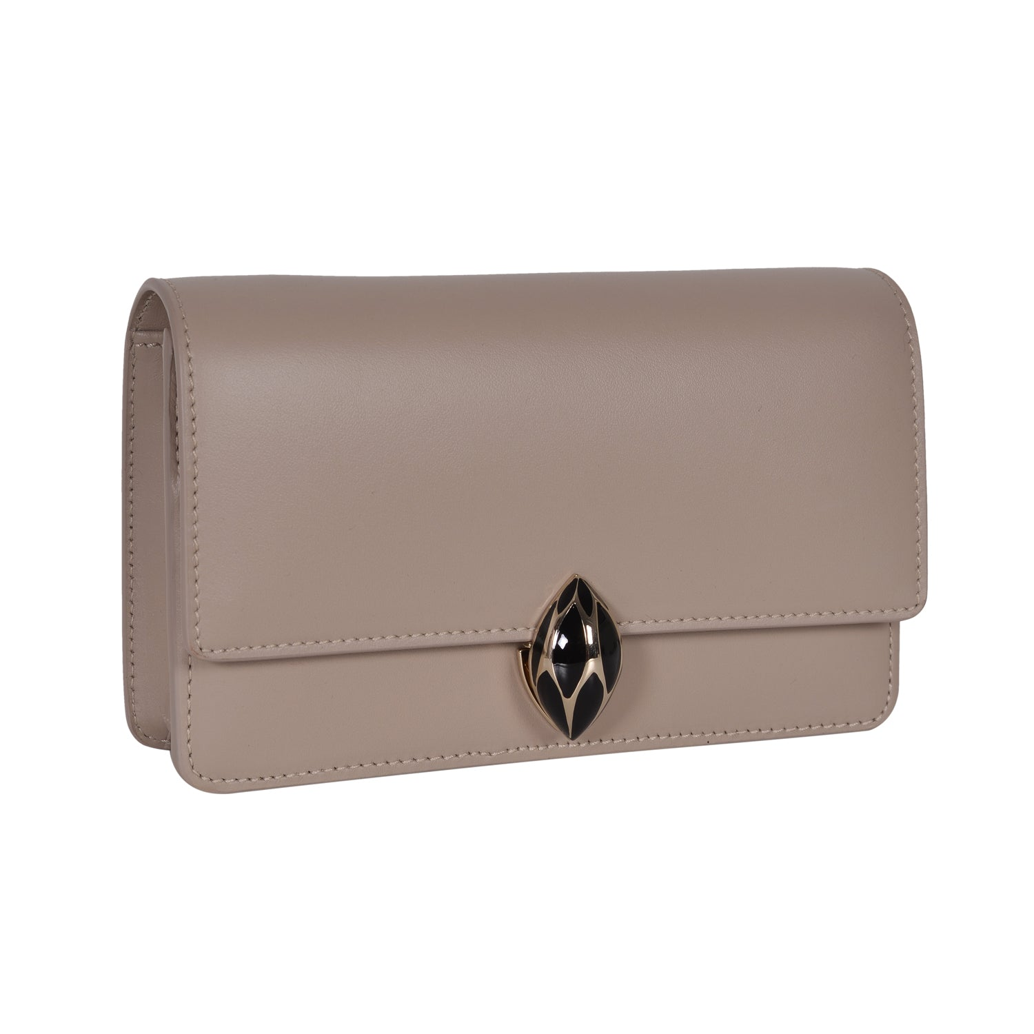 F.E.V  WOMEN'S TAUPE PLAIN CALF LEATHER  ST. MORTIZ CLUTCH