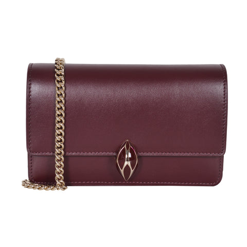 F.E.V  WOMEN'S BORDEAUX PLAIN CALF LEATHER  ST. MORTIZ CLUTCH