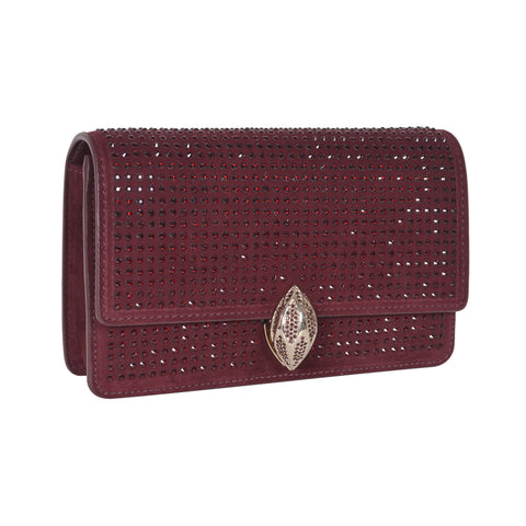 F.E.V  WOMEN'S BORDEAUX SUEDE  ST. MORTIZ CLUTCH