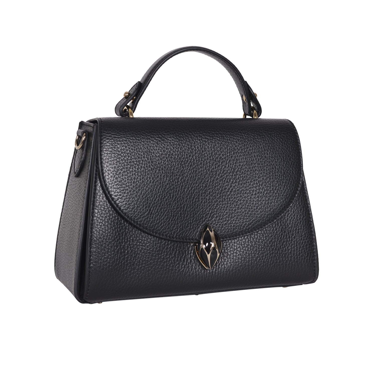 F.E.V BLACK GRAIN LEATHER CORTINA TOP HANDLE BAG