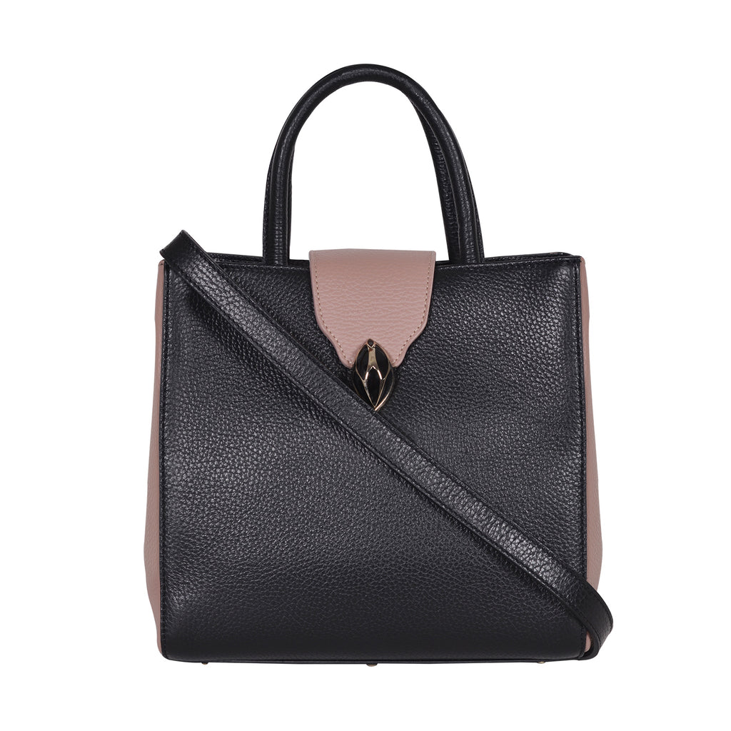 F.E.V  WOMEN'S DUAL TONE BLACK AND PINK CITY TOTE BAG