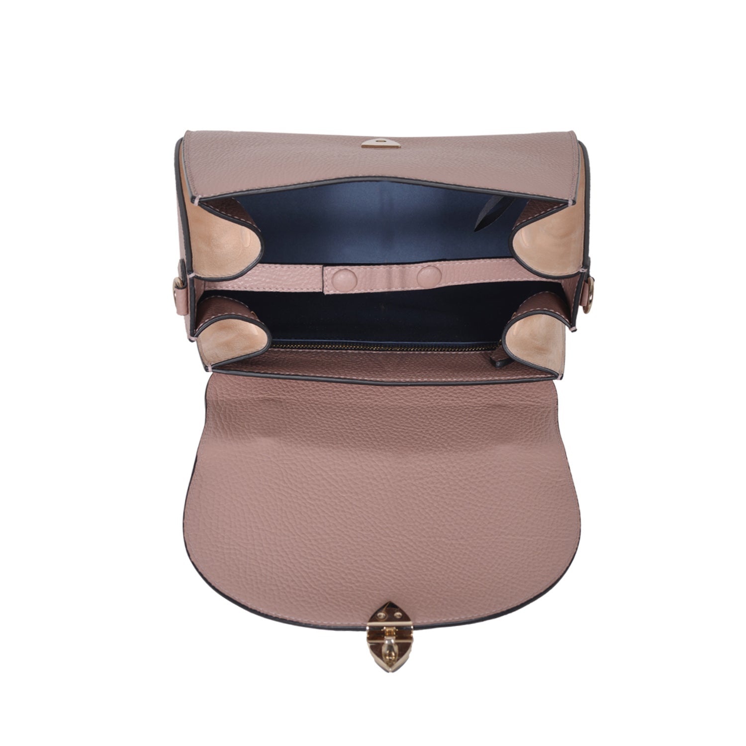 F.E.V PINK GRAIN LEATHER CORTINA TOP HANDLE BAG