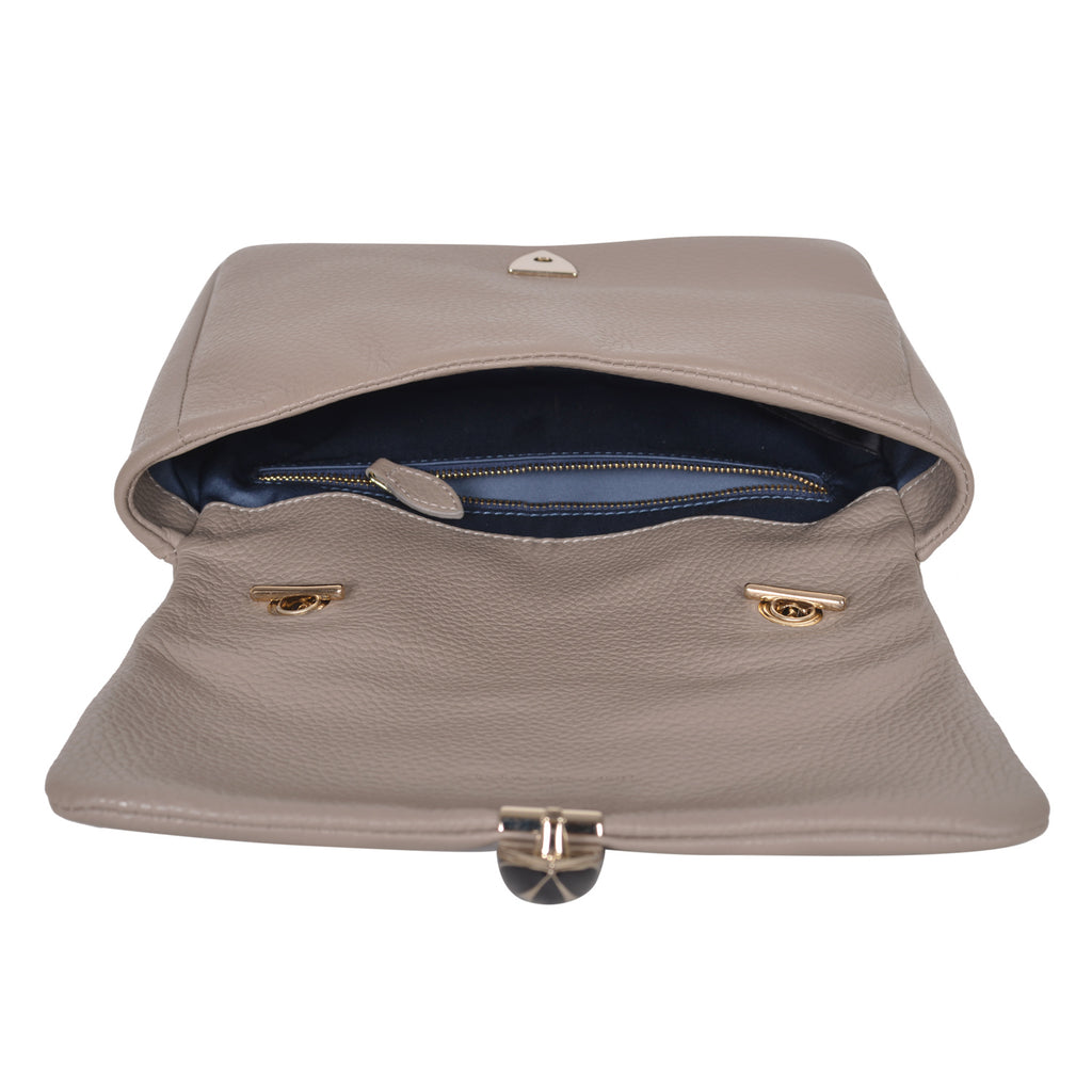 F.E.V TAUPE LEATHER ASPEN ALL- PURPOSE  BAG