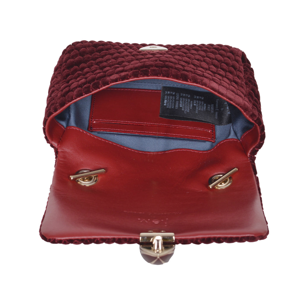 F.E.V BORDEAUX QUILTED VELVET ASPEN BUM-CHAIN BAG