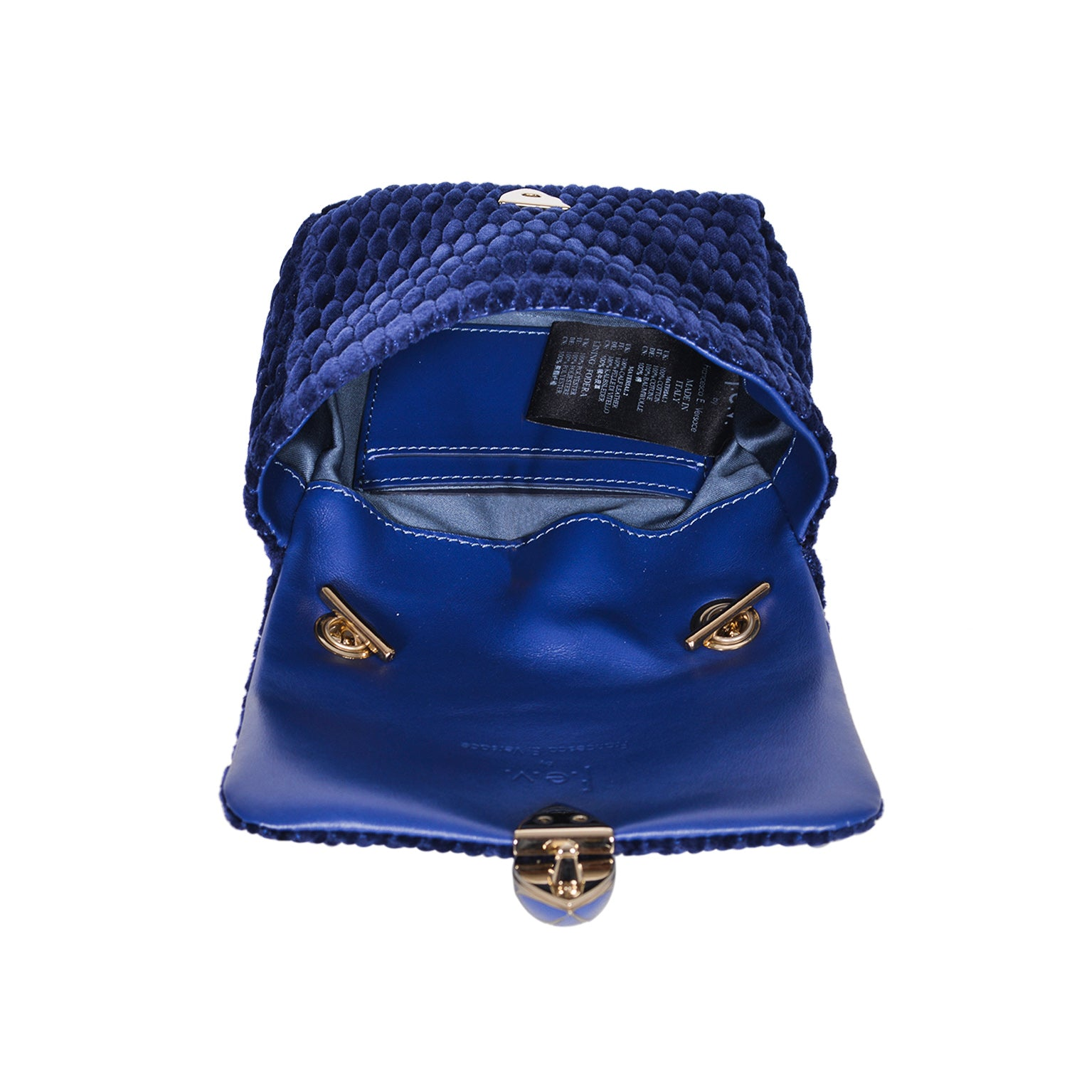 F.E.V BLUE QUILTED VELVET ASPEN BUM-CHAIN BAG
