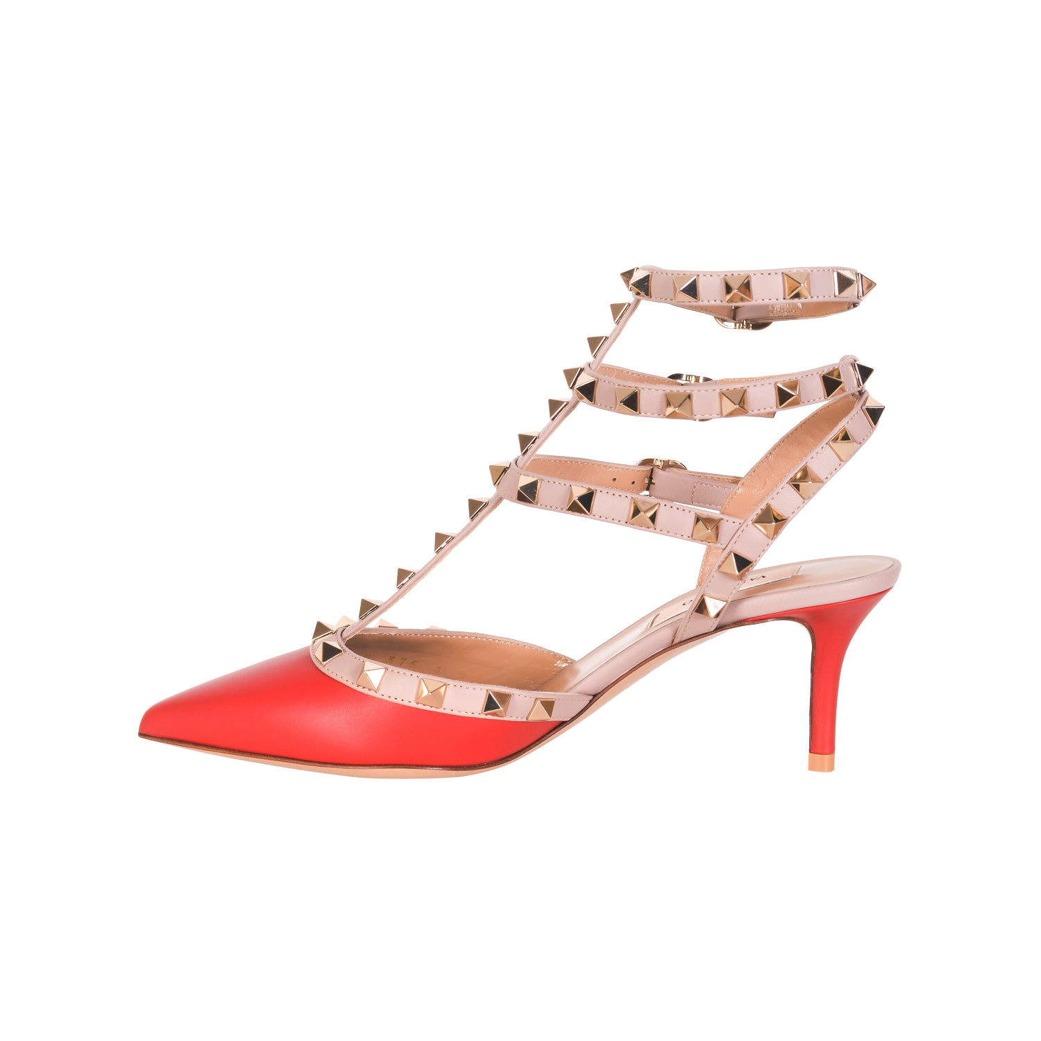 VALENTINO Rockstud Ankle Strap in Smooth Leather with Studs