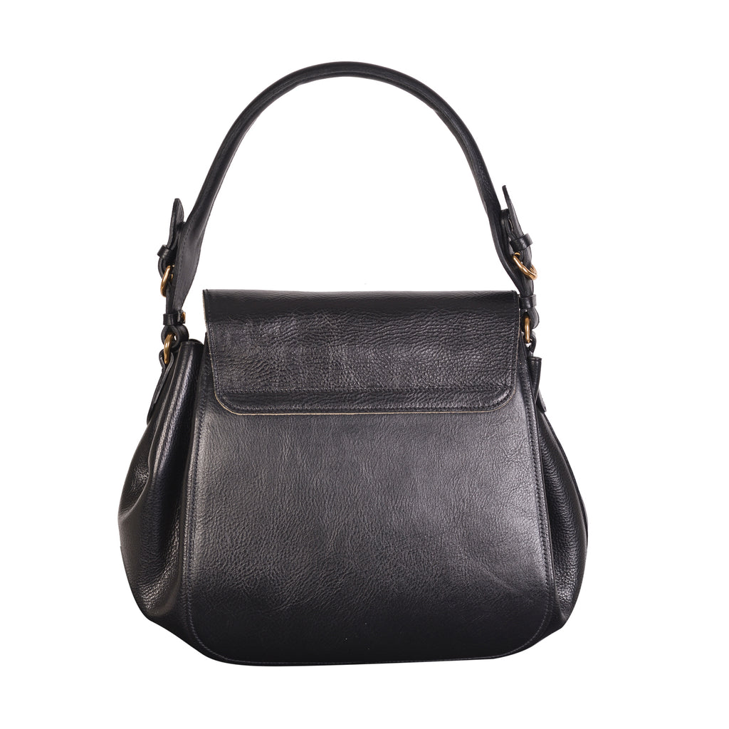 NEW IL BISONTE WOMAN'S CURLY COLLECTION SHOULDER BAG IN BLACK LEATHER