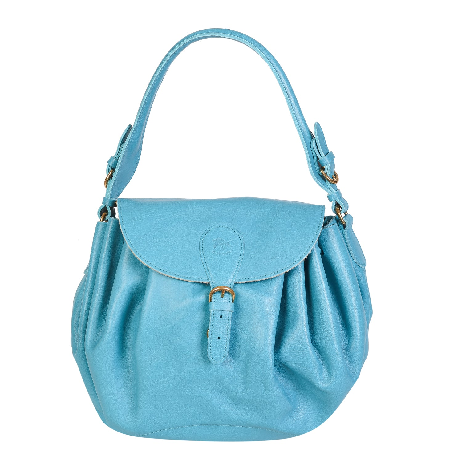 NEW IL BISONTE WOMAN'S CURLY COLLECTION SHOULDER BAG IN TURQUOISE LEATHER