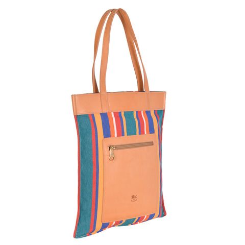 NEW IL BISONTE WOMAN'S FLAT TOTE BAG  IN MULTICOLORED STRIPED COTTON CANVAS
