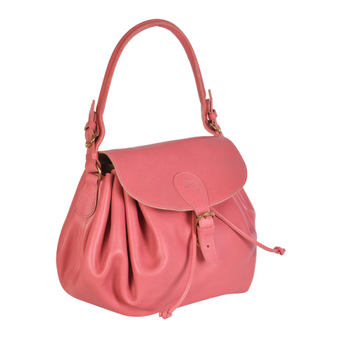 NEW IL BISONTE WOMAN'S CURLY COLLECTION SHOULDER BAG IN PINK LEATHER