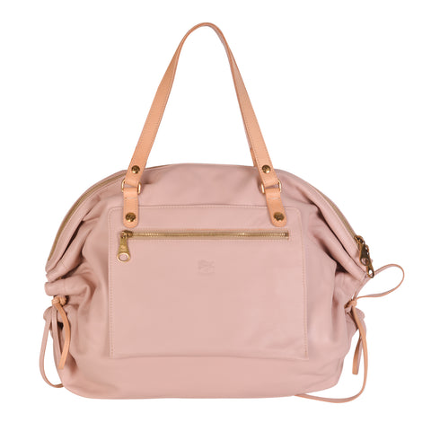 NEW IL BISONTE WOMAN'S CANDY COLLECTION SHOULDER BAG IN ROSE LEATHER