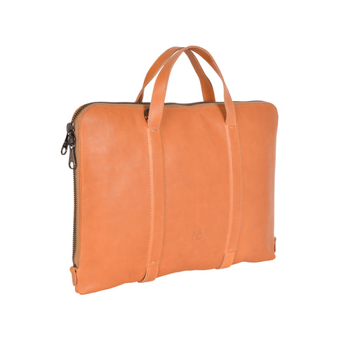 NEW IL BISONTE MEN'S SPRINT COLLECTION BREIFCASE IN BEIGE LEATHER