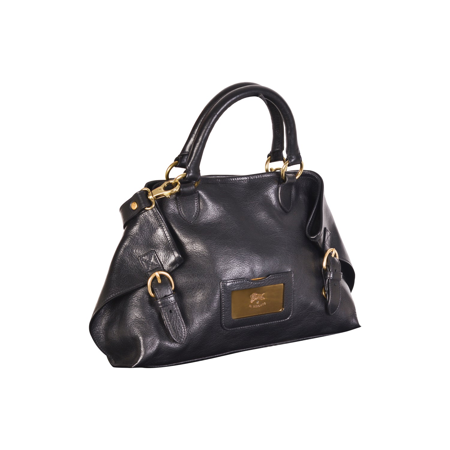 NEW IL BISONTE WOMAN'S SAVAGE COLLECTION HANDBAG IN BLACK LEATHER