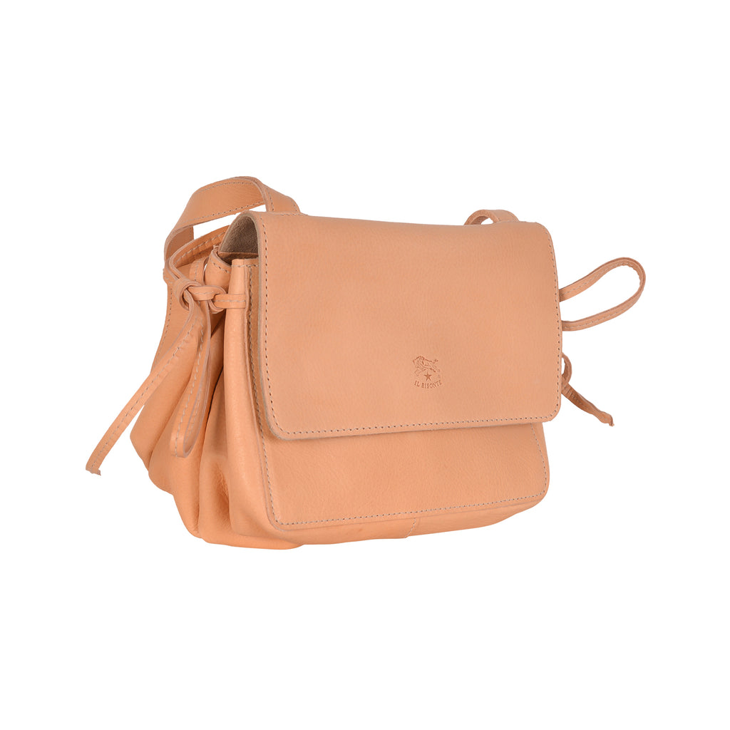 NEW IL BISONTE WOMAN'S SOFFIETTO COLLECTION CROSSBODY BAG IN BEIGE LEATHER