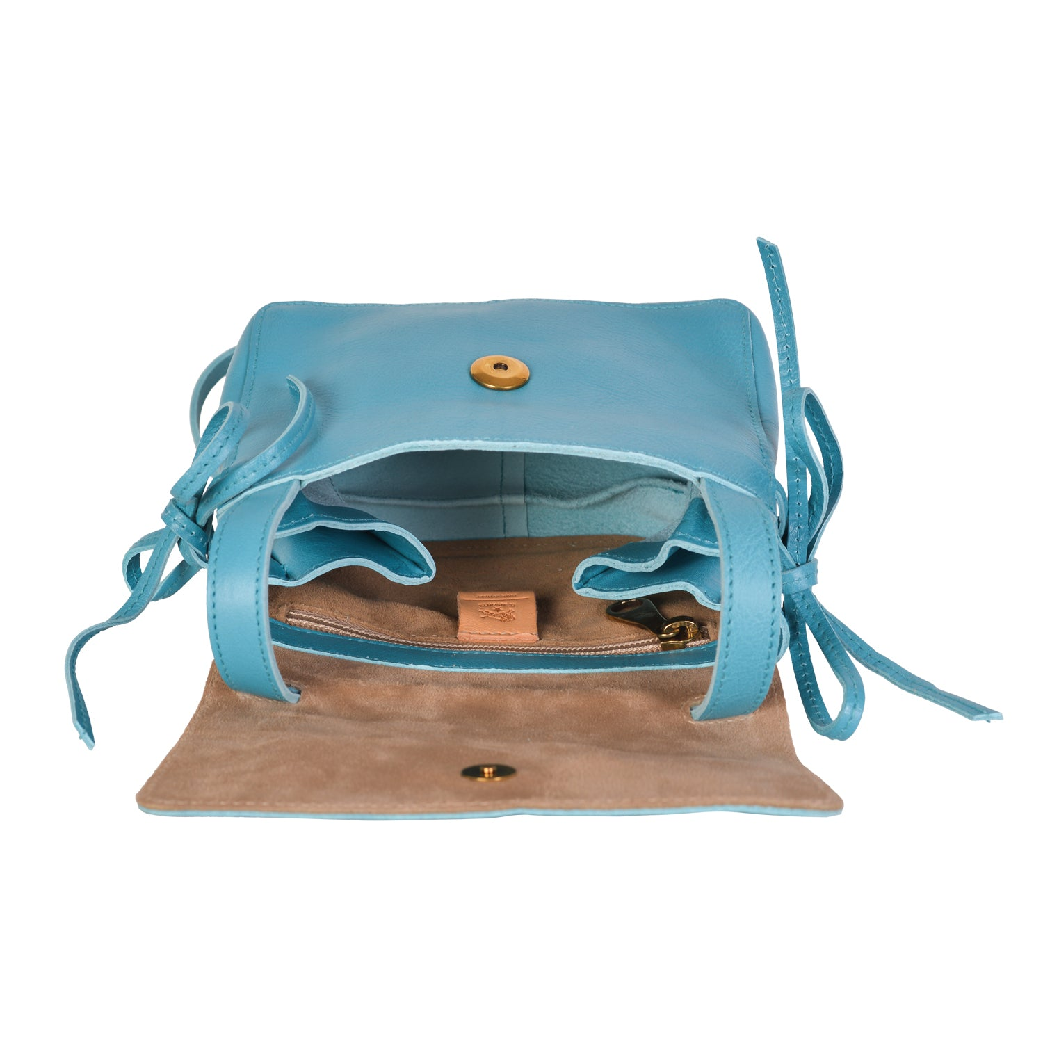 NEW IL BISONTE WOMAN'S SOFFIETTO COLLECTION CROSSBODY BAG IN TURQUOISE LEATHER